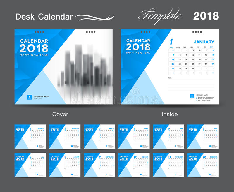 Calendar Design Price : Desk calendar template layout design blue cover