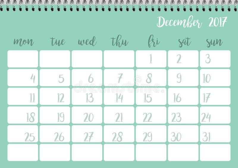 Desk Calendar Template For Month December Week Starts Monday Stock