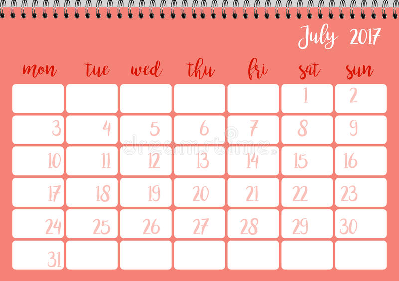 Desk Calendar Template For Month July Week Starts Monday Stock