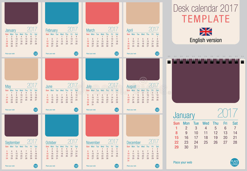 Desk Calendar 2017 Template In Pastel Colors Ready For Printing