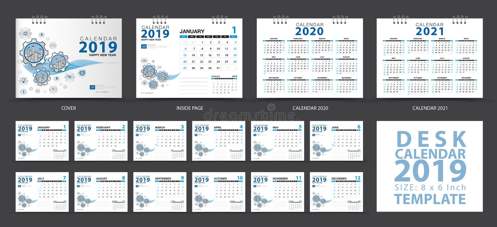 Desk calendar 2019 template, Set of 12 Months, Calendar 2020-2021 artwork, Planner, Week starts on Sunday, Stationery design royalty free illustration