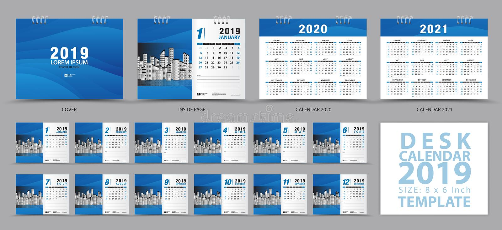 Desk calendar 2019 template, Set of 12 Months, Calendar 2019, 2020, 2021 artwork, Planner, Week starts on Sunday royalty free illustration