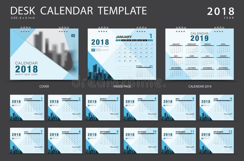 Desk calendar 2018 template. Set of 12 Months. stock illustration