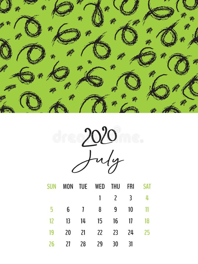 Desk Calendar 2020 template vector, July 2020 design, Planner vector diary in a memphis style, Week start on Sunday. Vertical layout royalty free illustration