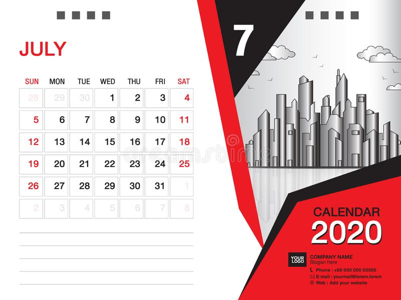 Desk Calendar 2020 template vector, JULY 2020 month, business layout, 8x6 inch, Week starts Sunday, Stationery design. Printing media, publication template stock illustration