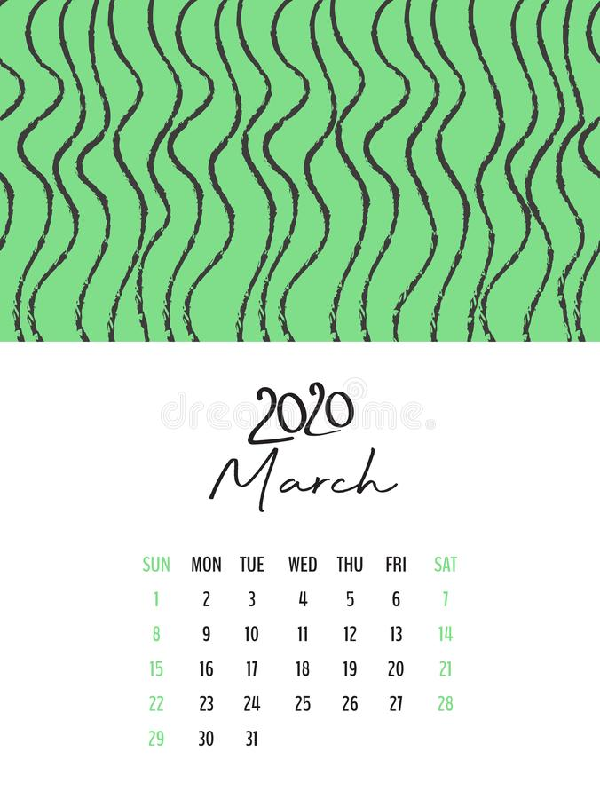 Desk Calendar 2020 template vector, March 2020 design, Planner vector diary in a memphis style, Week start on Sunday stock illustration