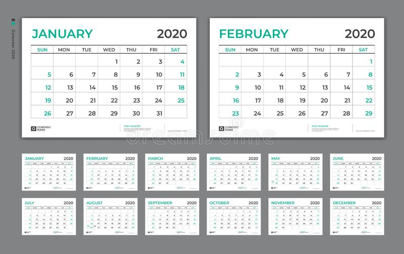 Desk Calendar 2020 template,  Week Starts on Sunday. Set of 12 Months. planner template, vertical page royalty free illustration