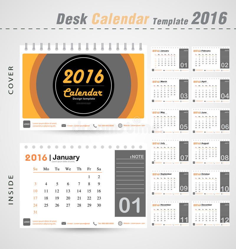 Desk calendar 2016 vector modern Circle design cover template for office illustration royalty free stock photos