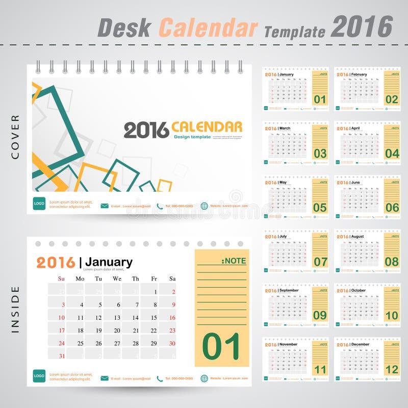 Desk calendar 2016 vector modern square design cover template for office illustration royalty free stock image