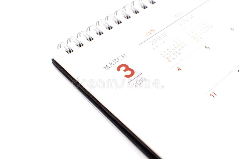 Desk calendar on white background : business concept stock photo
