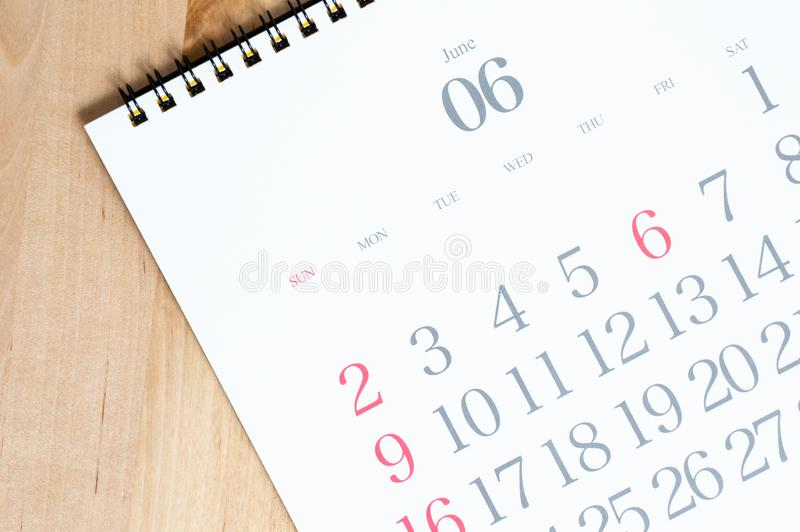 2019 desk calendar on the wood table stock photos