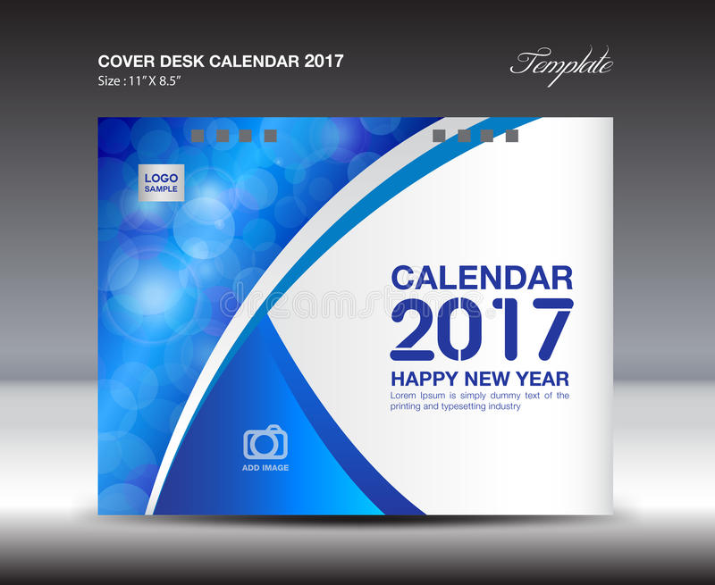 Desk Calendar For 2017 Year, Blue Cover Desk Calendar Design Stock ...