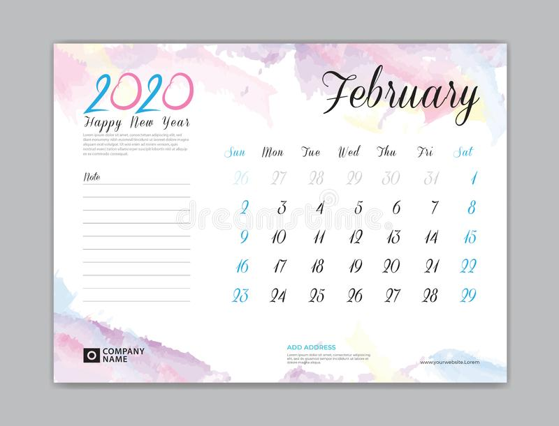 Desk Calendar for 2020 year, February 2020 template, week start on sunday, planner design, stationery, business printing, watercol stock illustration