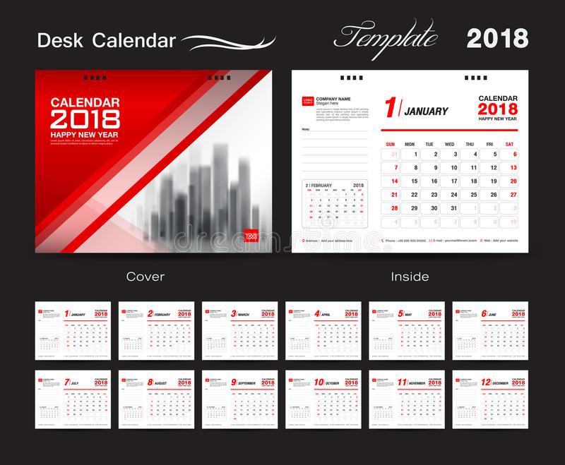 Desk Calendar for 2018 Year, Vector Design Print Template. Set Desk Calendar 2018 template design, red cover, Set of 12 Months, Week start Sunday vector illustration