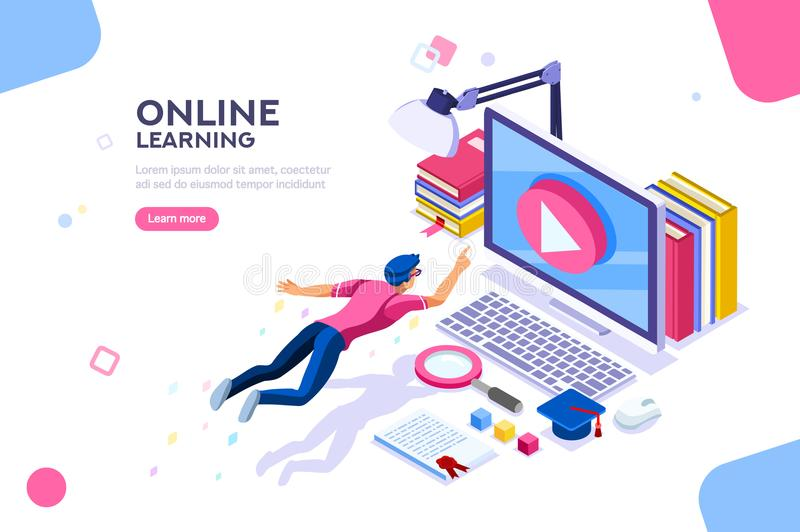 Online Tutorial Template for Website royalty free illustration