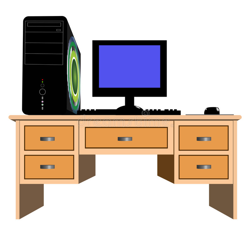 Desk And Computer Royalty Free Stock Photos