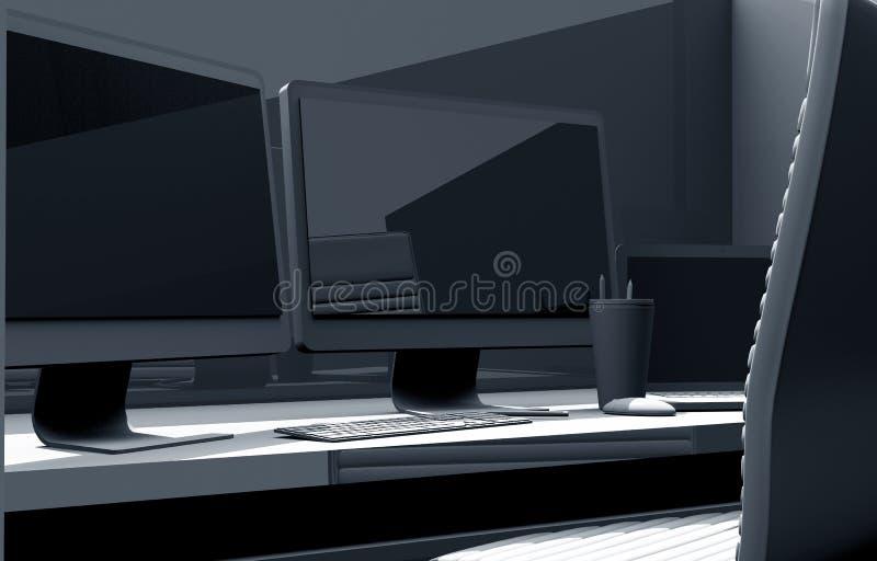 Desk with Computer. 3D Concept Illustration. Dual Display Desk Workstation stock illustration