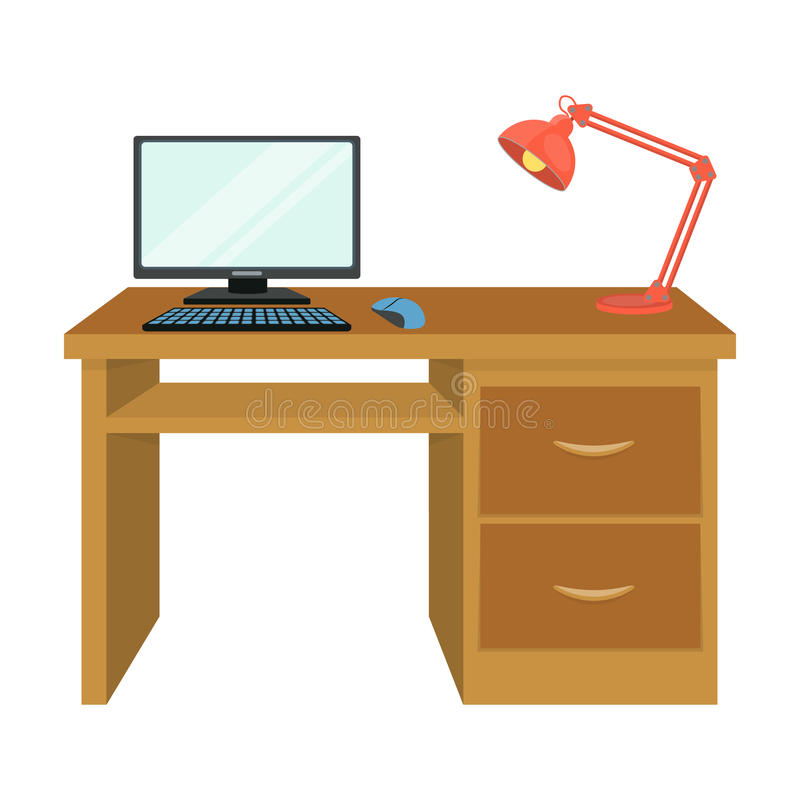 A desk with a computer and a desk lamp. Furniture and interior single icon in cartoon style Isometric vector symbol vector illustration