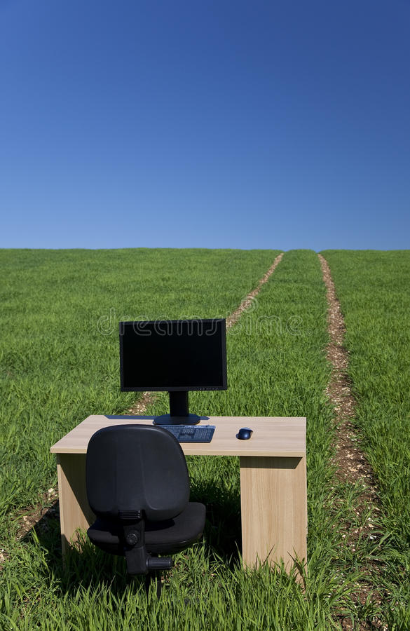Download Desk And Computer In Green Field With Path Stock Image - Image: 11013501