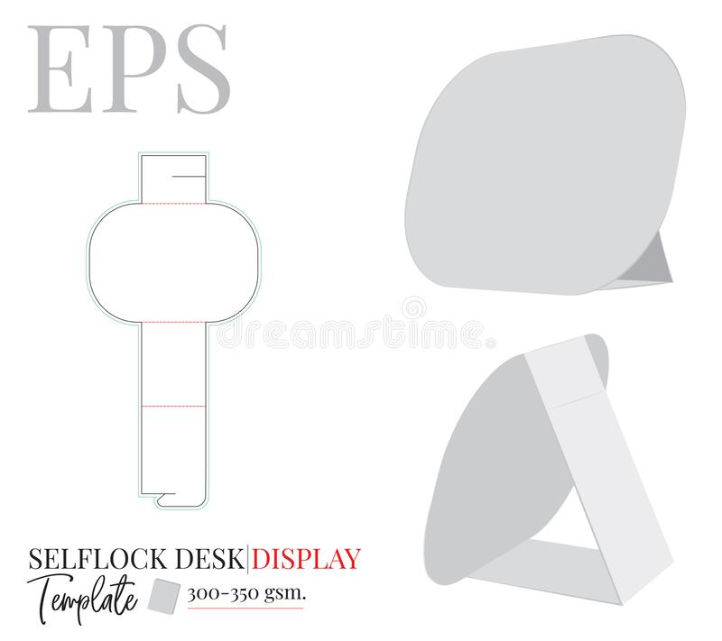 Desk Display, vector. Die cut, laser cutting template. Self lock desk display. White, clear, blank, isolated Desk display mock up. On white background. Cut and stock illustration
