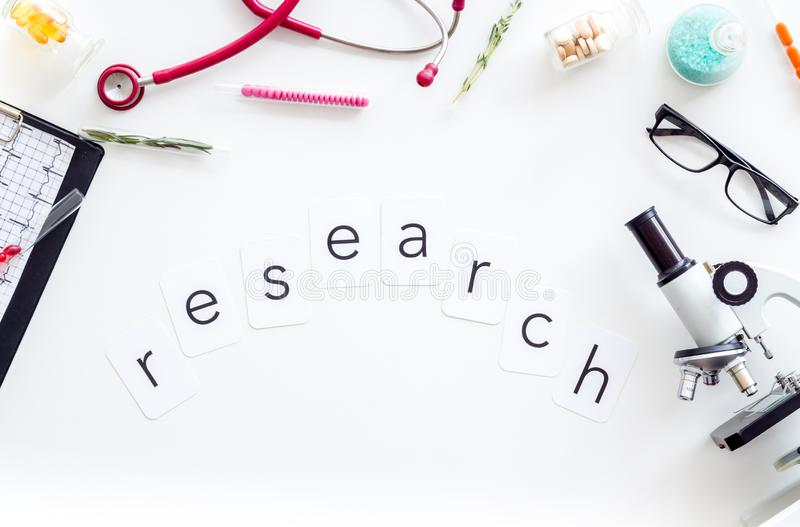 Do medical research with microscope, stethoscope, cardiogram, pills and test tube on white background top view. Desk of doctor. Do medical research with stock image