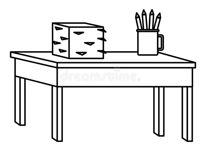 Desk with documents piled and pencils in cup in black and white. Desk with documents piled and pencils in cup ,vector illustration graphic design royalty free illustration