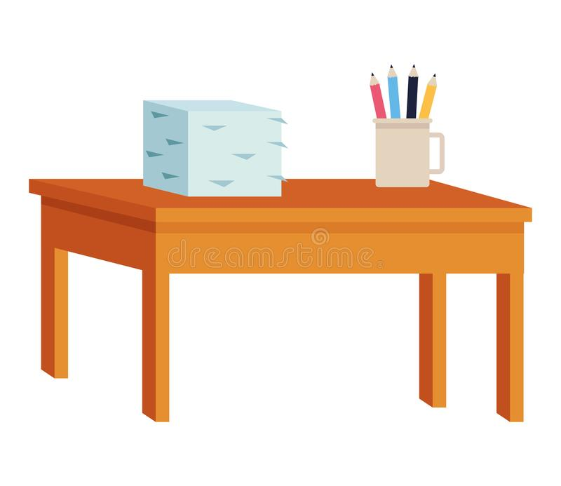 Desk with documents piled and pencils in cup. Vector illustration graphic design stock illustration