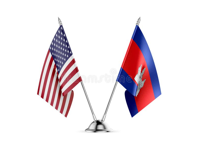 Table flags, United States  America  and Cambodia, isolated on white background. 3d image stock illustration