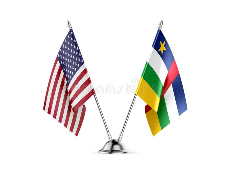 Desk flags, United States America and Central African Republic, isolated on white background. 3d image stock illustration