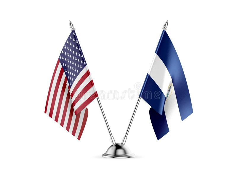 Table flags, United States America and Nicaragua, isolated on white background. 3d image royalty free illustration