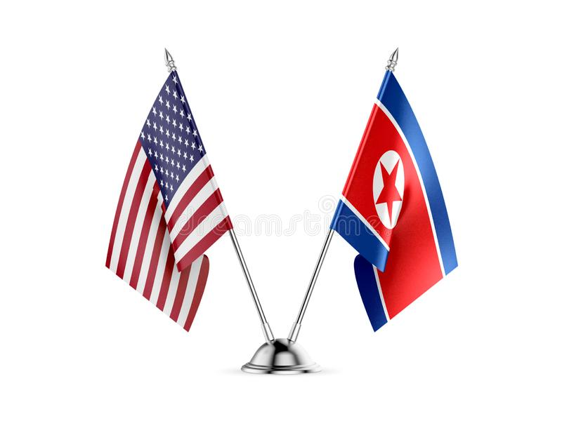 Table flags, United States America and North Korea, isolated on white background. 3d image stock illustration