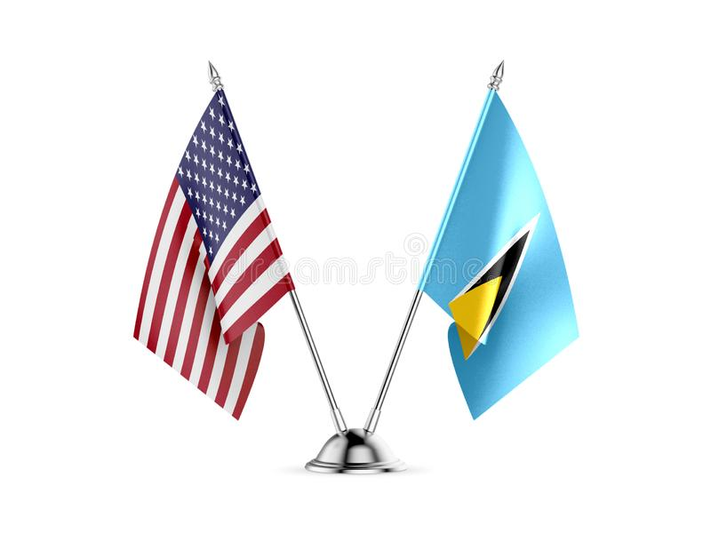 Table flags, United States America and Saint Lucia, isolated on white background. 3d image stock illustration