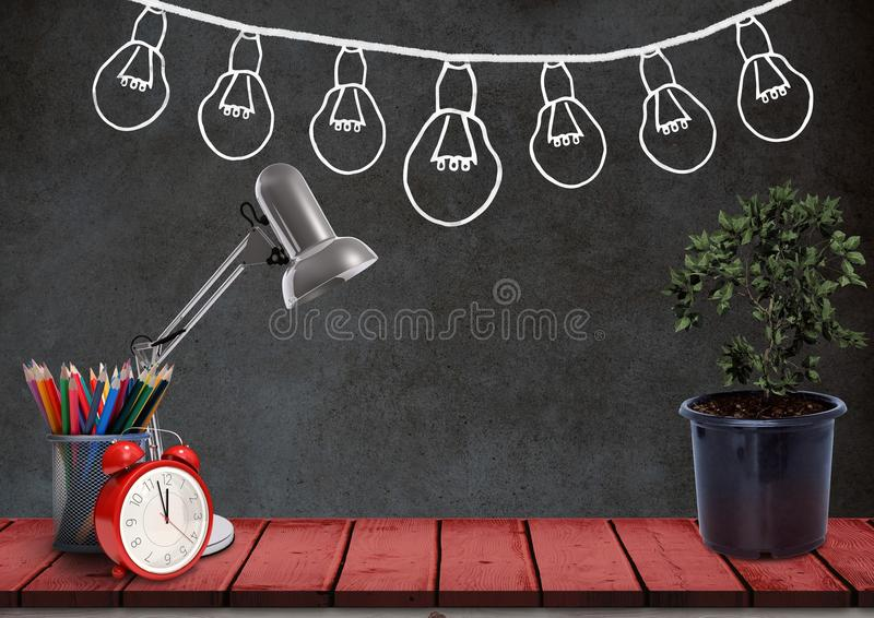 Desk foreground with blackboard graphics of light bulbs. Digital composite of Desk foreground with blackboard graphics of light bulbs vector illustration