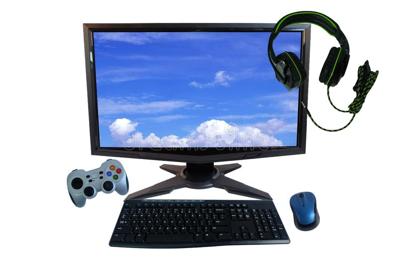Desk with gadgets or electronic equipment for daily use, Computer desktop pc, Keyboard and wireless mouse, controllers or joystick stock photography