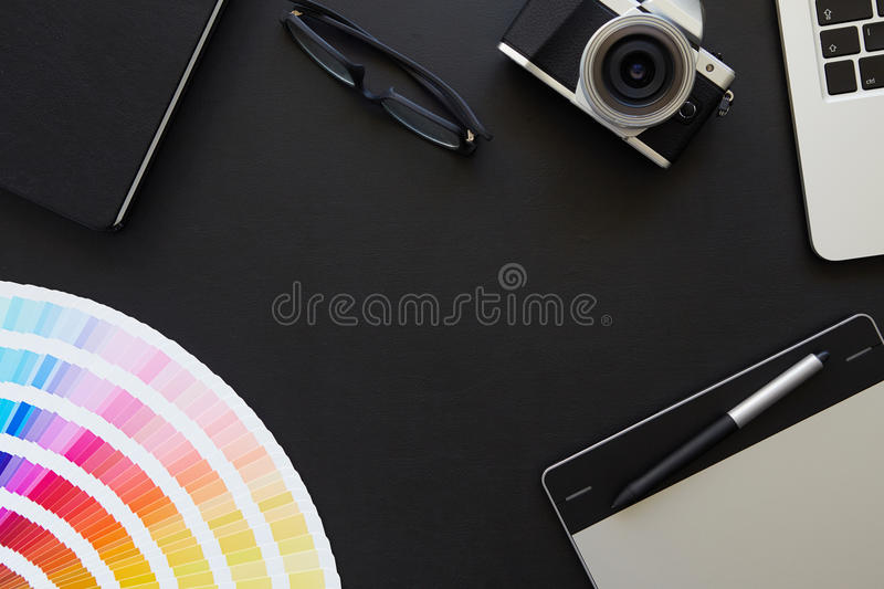 Desk of graphic designer vector illustration
