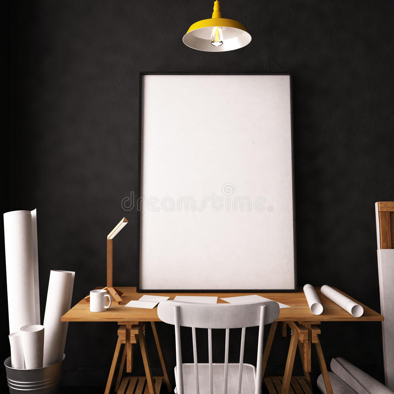 Desk In Hipster Style Loft. Mockup Interior With Posters. 3d Stock ...