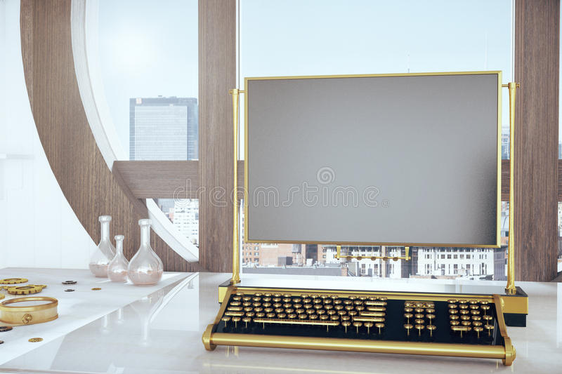 Desk with keyboard Steampunk and blank frame. Close up royalty free illustration