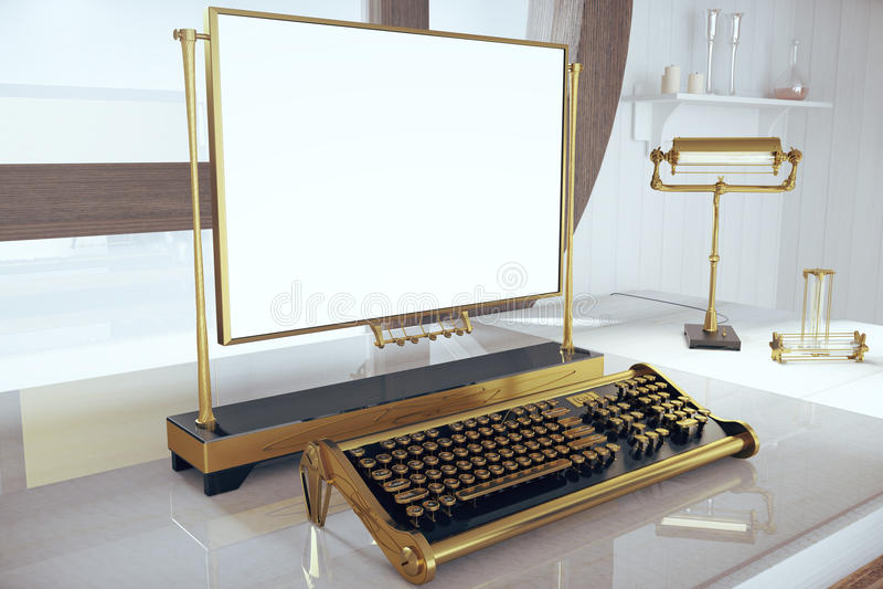 Desk with keyboard Steampunk and blank frame. Mock up vector illustration