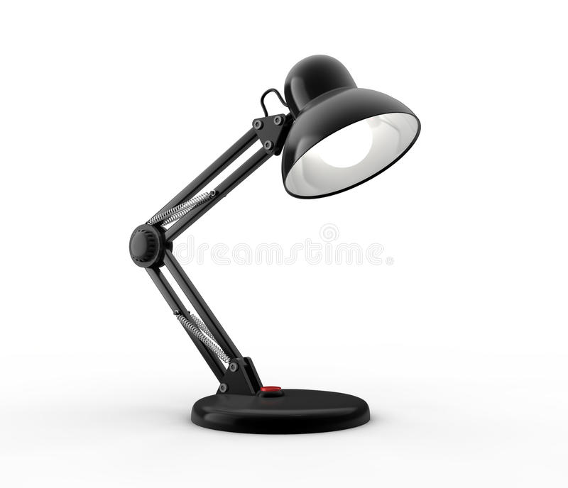 Desk lamp. Black desk lamp on white background. Computer generated image stock illustration