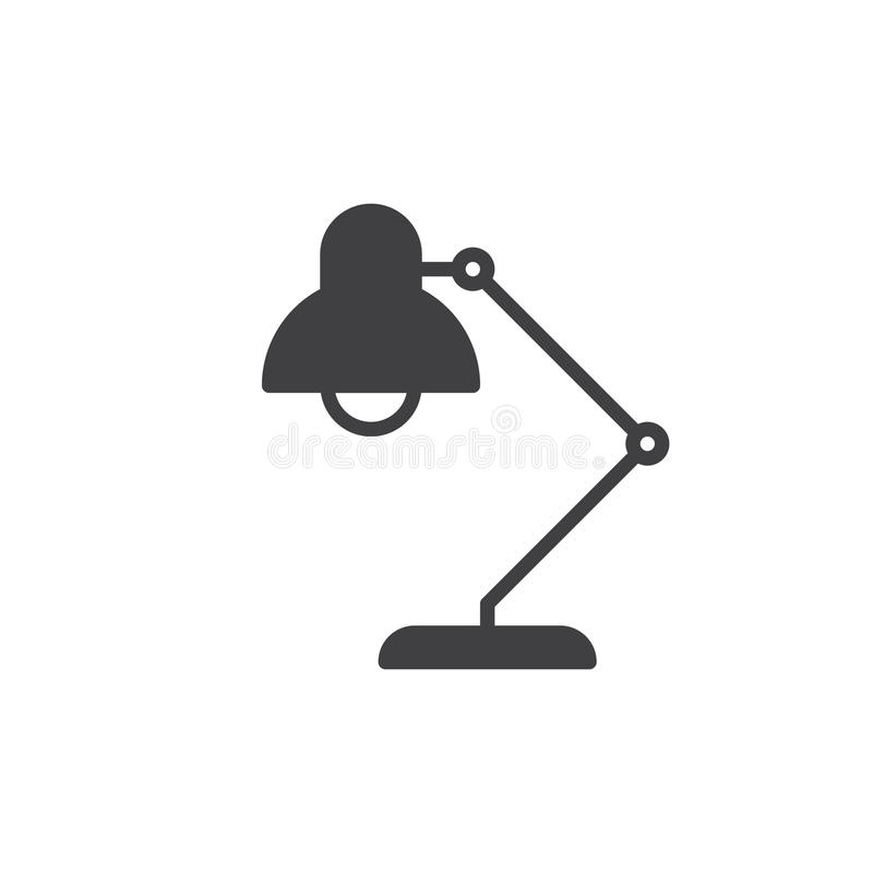 Desk lamp icon vector, filled flat sign, solid pictogram isolated on white. Symbol, logo illustration. Pixel perfect vector illustration