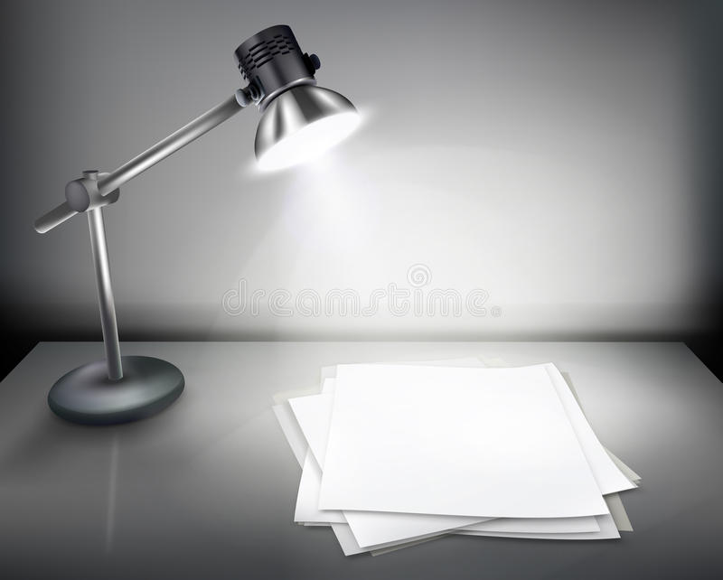 Desk with lamp. stock illustration