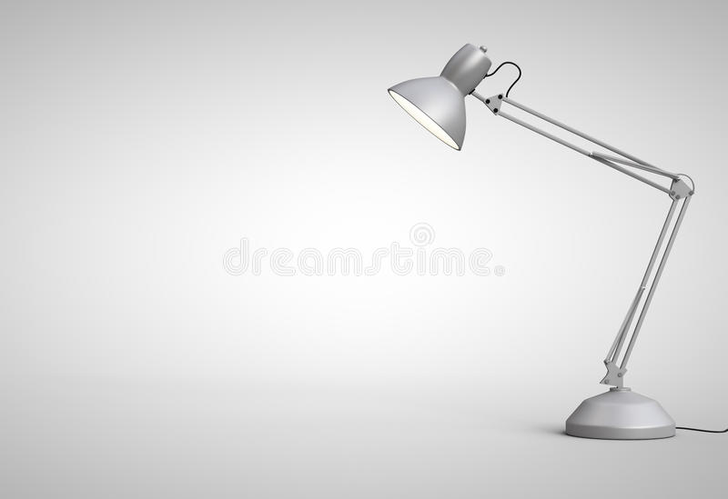 Desk lamp. Vintage white desk lamp isolated on gray stock illustration