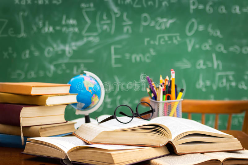 Desk during learning stock image