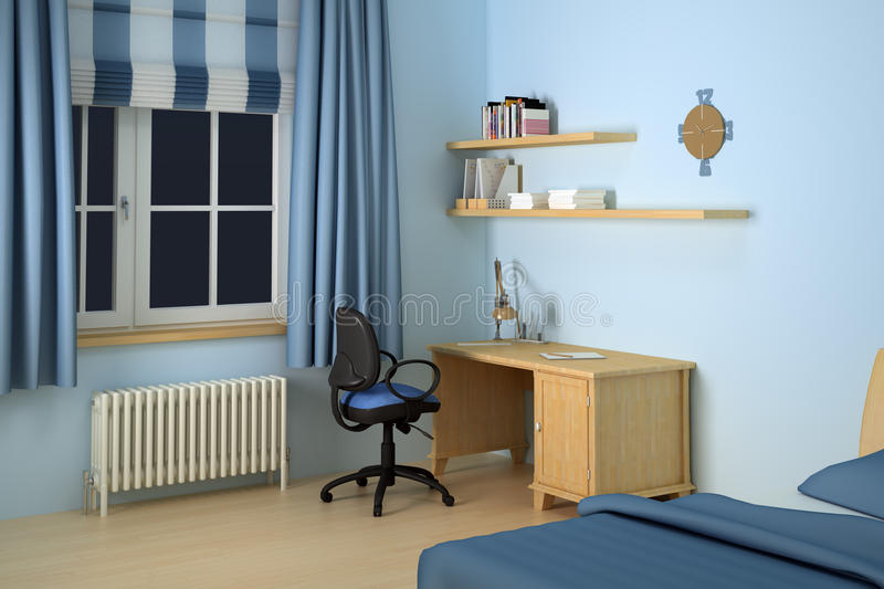 Desk in modern bedroom stock photo