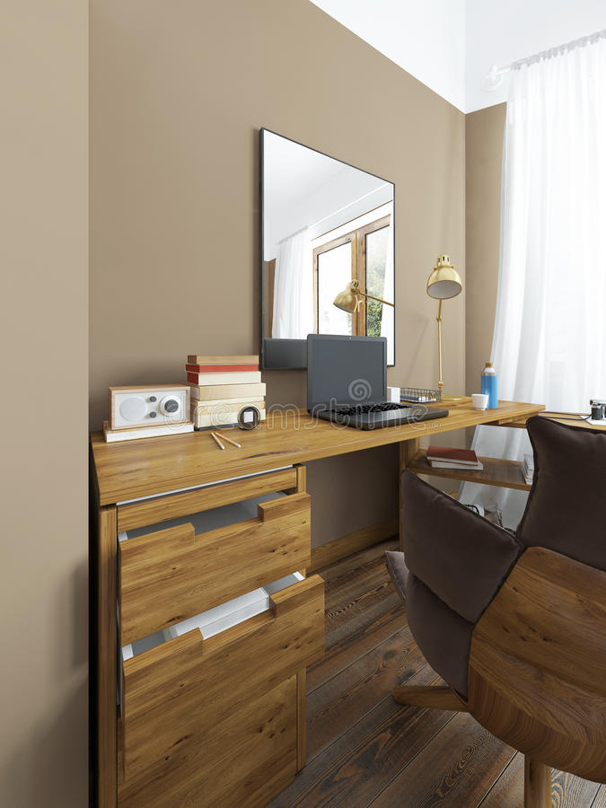 Desk in a modern bedroom. Desk in a modern bedroom, solid wood with an angular attachment. Above the table mirror on the table laptop, books and decor vector illustration