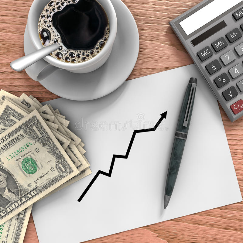 Desk with money. Background illustrating business growth management royalty free illustration