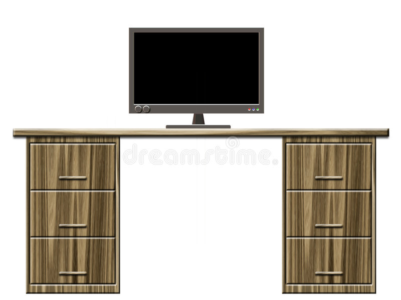Desk with monitor vector illustration