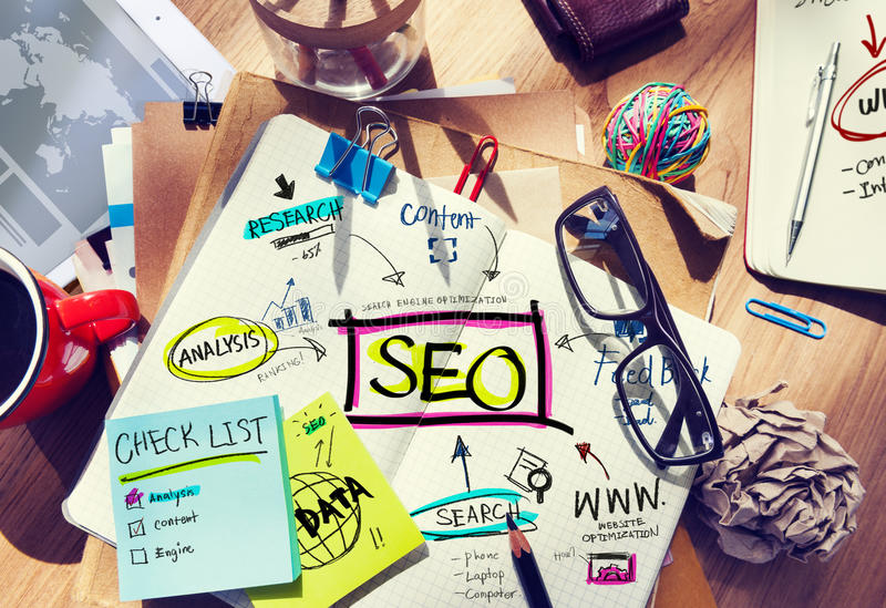 Desk with Notes About SEO vector illustration