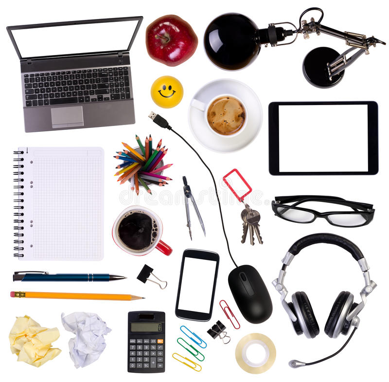 designer office desk isolated objects top view. Top View Of Various Desk Objects Isolated On White Background Designer Office E
