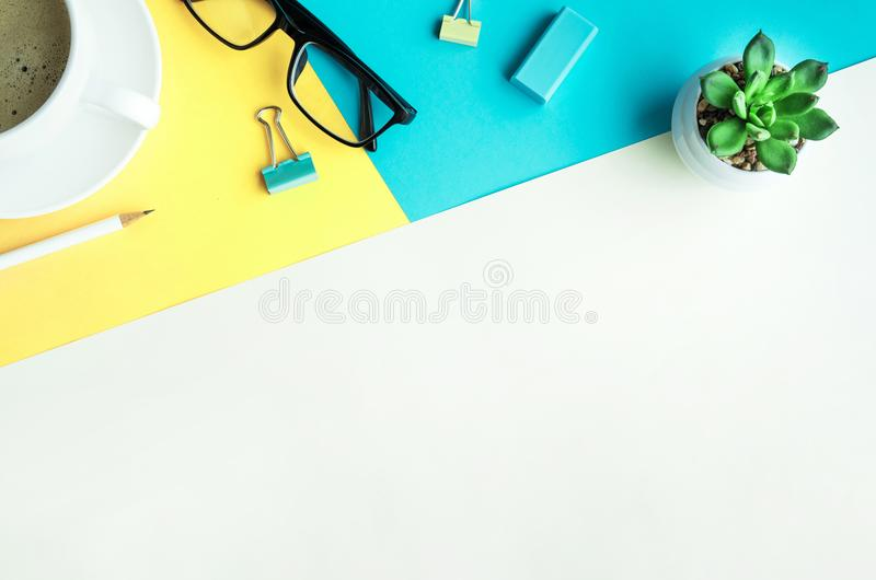 Desk office background with supplies.Coloful business table. Desk office background with supplies.Colorful of business working table with copy space stock image